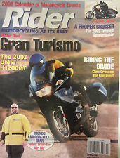 Rider Motorcycling Magazine April 2003 BMW K1200 Riding the Divide 2003 Triumph