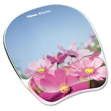 Fellowes Gel Mouse Pad w/Wrist Rest Photo 9 1/4 x 7 1/3 Pink Flowers 9179001