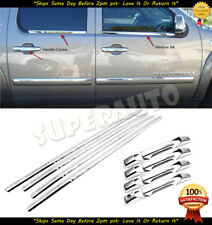FOR 2007-14 CHEVROLET-AVALANCHE/SUBURBAN CHROME WINDOW SILLS + 4DR HANDLE COVERS