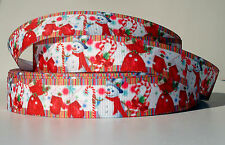 "Christmas Snowman Mix 7/8"" grosgrain ribbon 4 yds. toy bag candy cane mittens"