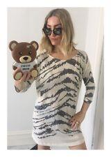 Women's Designer Farhi By Nicole Farhi White & Black Tiger Stripe Dress Size 8
