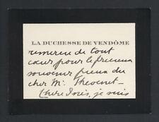 Princess Henriette of Belgium Duchess of Vendôme Signed Mourning Calling Card
