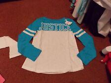 justice - girls size 14--hawaian blue Logo Long Sleeve Football Tee--nwt