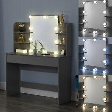 Schminktisch mit Spiegel Frisierkommode Frisiertisch LED Beleuchtung Dunkelgrau