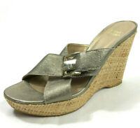 Stuart Weitzman 7 Gold Metallic Woven Wedge Open Toe Sandal Leather Buckle
