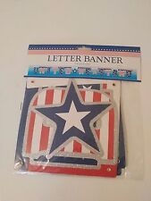 United We Stand 7' Glitter Letter Banner 4th Of July Patriotic Celebration New
