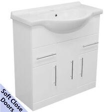 WHITE VANITY BASIN CERAMIC SINK UNIT 850MM SOFT CLOSE DOORS BATHROOM CABINET NEW