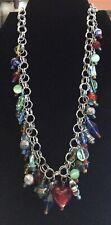 Silver Tone Multi Colored Resin Dangle Bead Necklace
