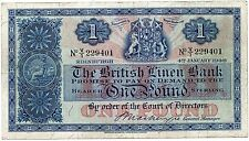 BRITISH LINEN BANK ONE POUND BANKNOTE  4TH January 1946