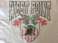 West Point Army Academy VTG T Shirt Single Stitch Spellout White Large