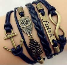 Infinity,Faith,Anchor,Owls Charm Bracelet in Antique Bronze , Wax cord leather