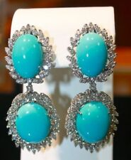 Rose Cut Diamond Turquoise Earring Antique Look 925 Sterling Silver 5.25Ct