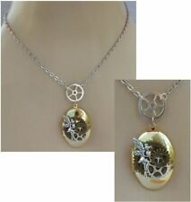 Steampunk Necklace Fairy Locket Pendant Jewelry Handmade Cosplay Chain Gold