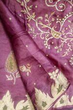 Vintage Indian Pure Tussar Silk Saree Embroidered Sari Sarong Antique Textile