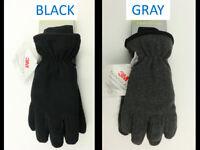 NWT $26 Tek Gear Mens Gloves, Black or Gray Fleece, 3M Thinsulate, Touch Screen