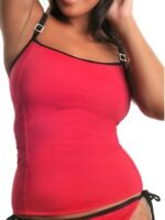 New Red Tankini Top Hidden Underwired Bra No Padding Full-filled Supportive