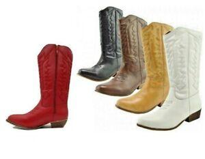 Cowboy Boots Women's Line Dancing Boho Festival Calf Western Non Leather