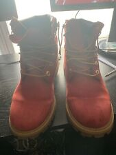 Red timberland boots size 7
