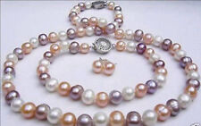 Natural 7-8mm White pink Purple Freshwater Pearl Necklace Earring Bracelet JN987