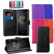 Leather Flip Wallet Case Stand Cover For Sony Xperia XA2 + Protector + Stylus