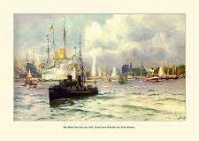 Deutsches Reich Kiel Hafen 1909 Gemälde Willy Stöwer 14