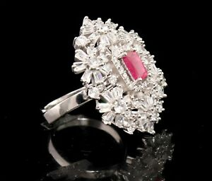 Cubic Zirconia Royal Ruby Look Designer Cocktail Ring 12 RR 11