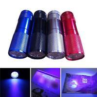 1pc Portable Mini Aluminum UV ULTRA VIOLET 9 LED lampes torche de détections EH