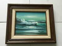 Ocean Breakers With Seagulls Seascape Oil Painting Signed Reagan.