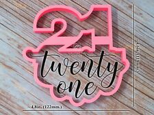 Custom Made Cookie Cutter with Letters Large Number 21 Twenty One 3D Printed