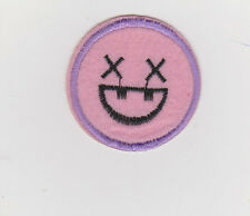 Smiley Face Patch iron on or sew on 4.7cm wide purple/black/pink NEW