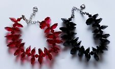 """Group of 2 Red & Black Faceted Bead Bracelets Fit up to 9"""" Wrist NEW D21"""