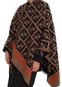Authentic Fendi Poncho FF Cape Wrap Top Jacket Wool Silk