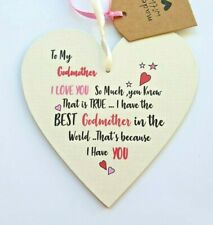 Godmother Mothers Day Gifts Handmade Wooden Heart Birthday Christening day