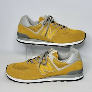 Men's New Balance Size 17 Classic 574 ML574EYW Yellow Suede Sneakers Lace Up