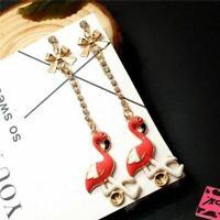 Betsey Johnson Flamingo Pink Enamel Rhinestone Bow Dangle Earrings