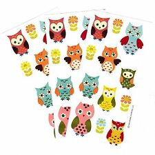 3 Sheets Hallmark Colorful OWL Scrapbook Stickers! Flowers Owls