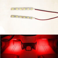 2x 10cm Red 6 LED 5050 Strip Lights Flexible 12V For Car Boat Motor Waterproof
