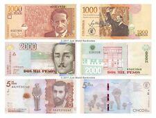 Colombia 1000 + 2000 + 5000 pesos Conjunto de 3 billetes de 3 Piezas UNC