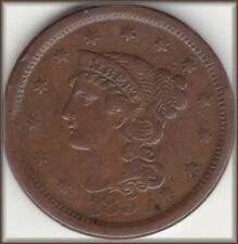 1854 Braided Hair Large Cent  Nice Brown Better Date High Grade Detail
