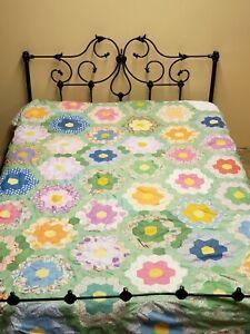 "Vintage Antique Quilt Top 1930s Cotton Fabric Grandmother's Flower Garden 64x96"""