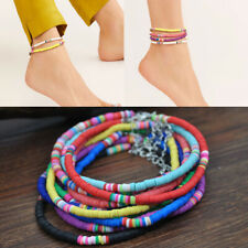 Elastic Jewelry Colorful Beaded Disc Beads Boho Fashion Polymer Clay Anklets