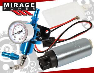 Oil Fill Blue Fuel Pressure Regulator Psi Gauge Gas + Pump Assembly Unit Kit Jdm