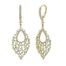 14K Yellow Gold Diamond Teardrop Earrings Round Cut Dangle Drop Leverback 2.34CT