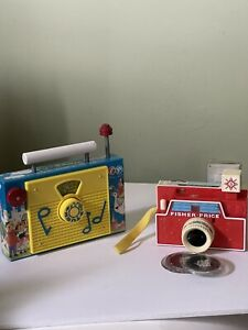 Fisher Price Toys Radio And TV Camera With 3 Discs Collectible Lot Of 2