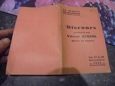 Ancien Livret DISCOURS Prononcé par Vincent Auriol Ministre des Finances 1936