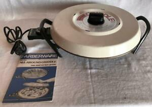 Vintage Farberware #296 Round Cast Aluminum Automatic Griddle with booklet