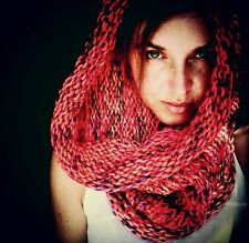 Hoodware Scarf-Cowl Infinity Neck Warmer Hooded  Neon Pink Copper Super Soft