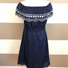 Calypso St Barth X Target Women's Dress Off Shoulder Blue Embroidered Boho Small