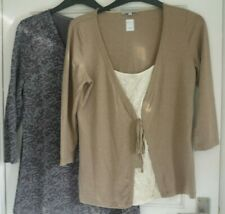 ladies tops grey marble or beige 3/4 sleeves Per Una 10 to 20