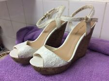 New Look White Open Toe Sling Back Wedge High Heels Size 4